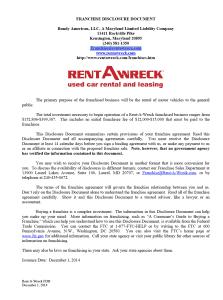 Rent-A-Wreck FDD