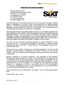 Sext Franchise Disclosure Document